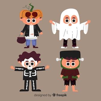 Collezione bambino halloween piatta