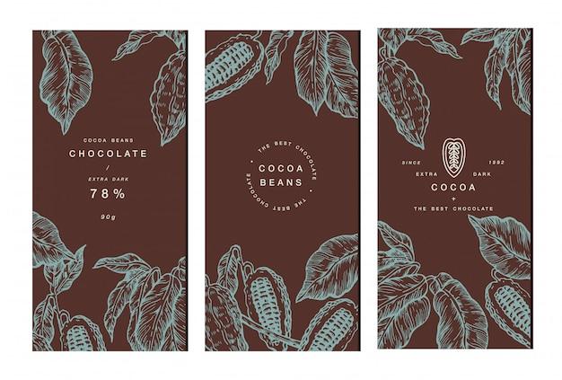 Collezione banner albero di fave di cacao. modelli. illustrazione stile inciso. fave di cacao al cioccolato. illustrazione