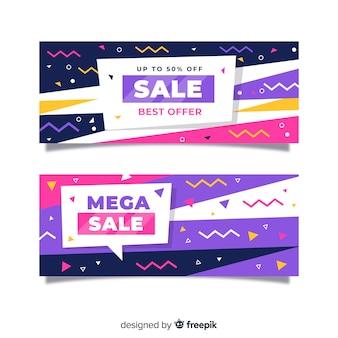 Collezione banner di vendita stile memphis