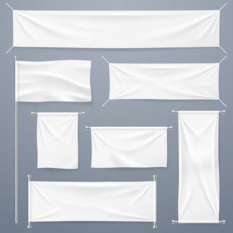 Collezione banner tessili. stendardi e bandiere orizzontali, verticali in tessuto bianco bianco.