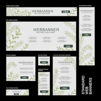 Collezione banner web - botanico