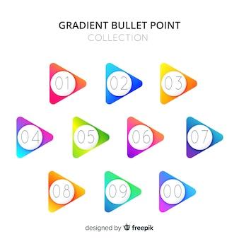 Collezione bullet point a triangolo