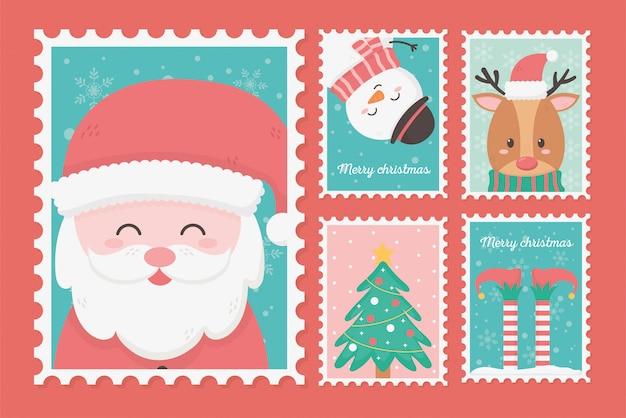 Collezione celebrazione francobolli di natale felice