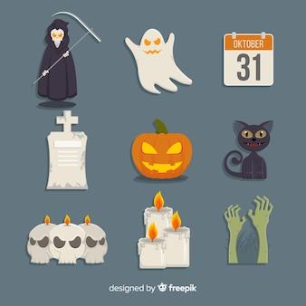Collezione classica di elementi di halloween con design piatto