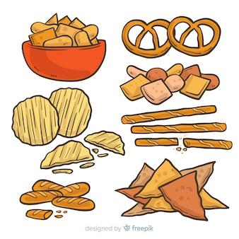 Collezione classica disegnata a mano snack