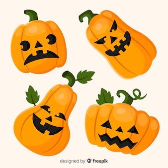 Collezione classica zucca di halloween con design piatto