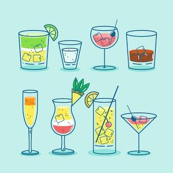 Collezione cocktail dal design piatto