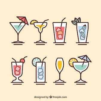 Collezione cocktail moderna con design piatto