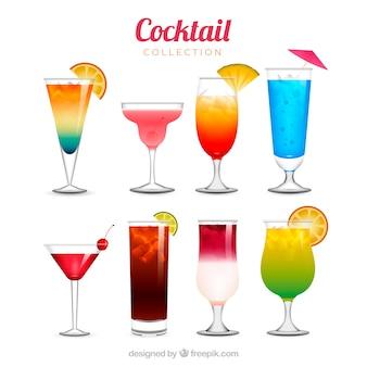 Collezione cocktail rinfrescante in stile realistico