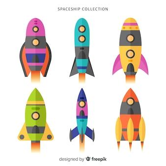 Collezione colorata astronave con design piatto