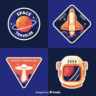 Collezione colorata di adesivi spaziali