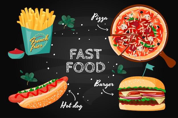 Collezione colorata di fast food.