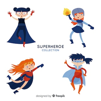 Collezione colorata femminile supereroe con design piatto