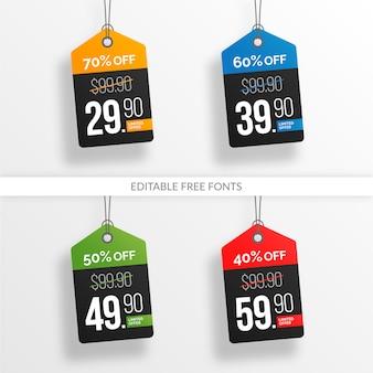 Collezione colorata modificabile e tag prezzo