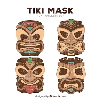 Collezione colorata tiki maschera