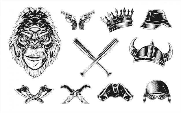 Collezione completa di testa di gorilla
