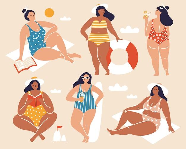 Collezione con ragazze carine sulla spiaggia