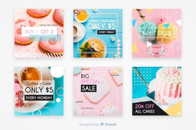 Collezione culinaria di post instagram con foto