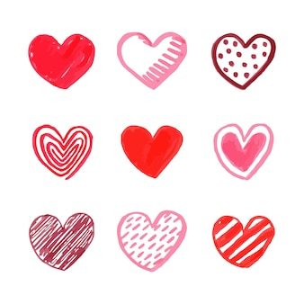 Collezione cuore di design disegnato a mano