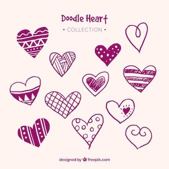 Collezione cuori doodle