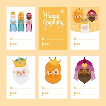 Collezione di 6 modelli di cartoline natalizie. illustrazione vettoriale template for greeting scrap