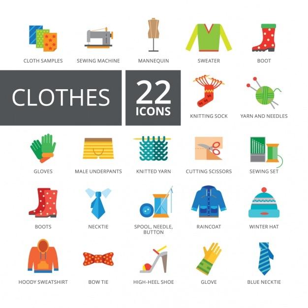 Collezione di abbigliamento icone