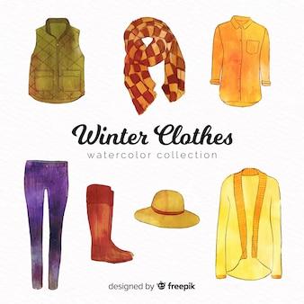 Collezione di abiti invernali acquerello moderno