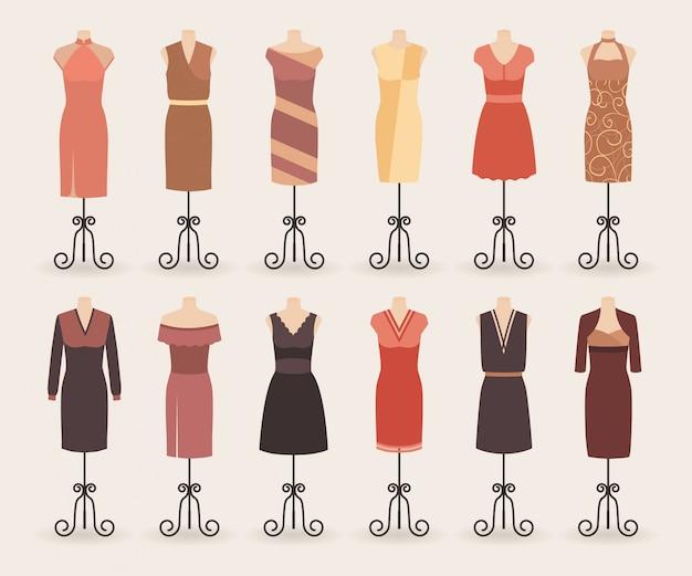 Collezione di abiti moda donna shopping. set di abiti da cocktail da sera su un manichini.