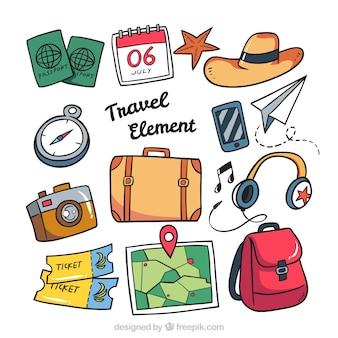 Collezione di accessorio di viaggio disegnato a mano