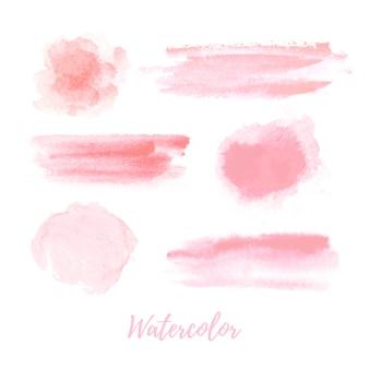 Collezione di acquerelli rosa. il pennello rosa pastello morbido accarezza un acquerello. grafica moderna isolato su sfondo bianco