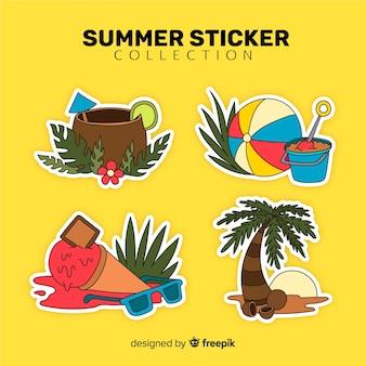 Collezione di adesivi colorati estivi