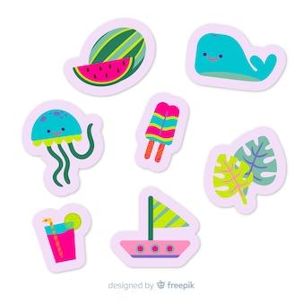 Collezione di adesivi colorati piatti estivi