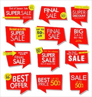Collezione di adesivi colorati vendita e tag