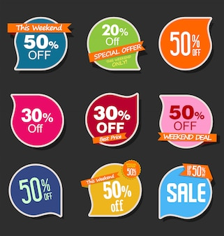 Collezione di adesivi colorati vendita moderna