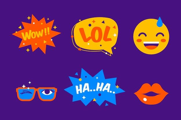Collezione di adesivi con emoji e bolle di chat