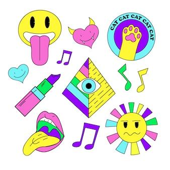 Collezione di adesivi con note musicali e simboli vari