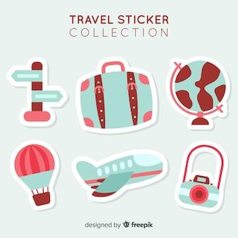Collezione di adesivi da viaggio 2d