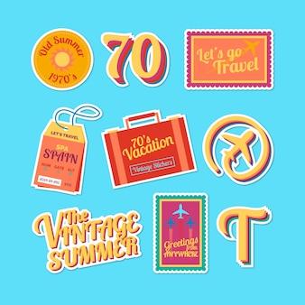 Collezione di adesivi da viaggio in stile anni '70