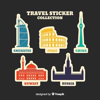 Collezione di adesivi da viaggio