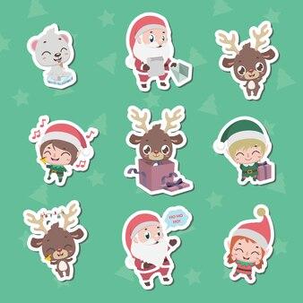Collezione di adesivi di carattere natalizio