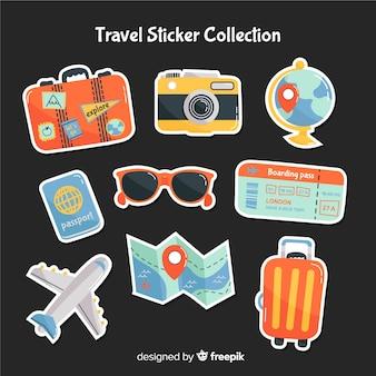 Collezione di adesivi di viaggio disegnati a mano