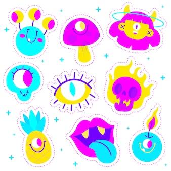 Collezione di adesivi divertenti colori acidi disegnati a mano