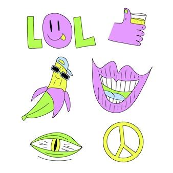 Collezione di adesivi divertenti disegnati a mano di colori acidi