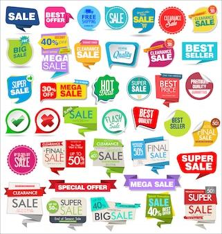 Collezione di adesivi e distintivi tag vendita moderna adesivi