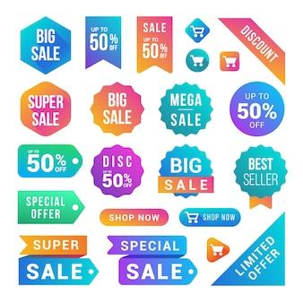 Collezione di adesivi e pulsanti di vendita