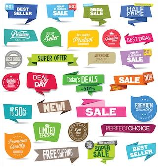 Collezione di adesivi e tag di vendita moderni