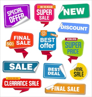 Collezione di adesivi e tag di vendita