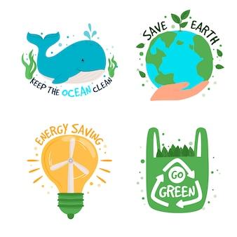 Collezione di adesivi ecologici con slogan: zero sprechi, riciclo, strumenti ecologici, protezione dell'ambiente.