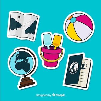 Collezione di adesivi elementi di viaggio