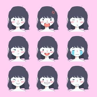 Collezione di adesivi emoji ragazza carina
